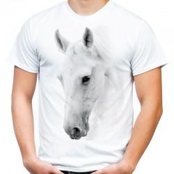 koszulka męska z białym koniem