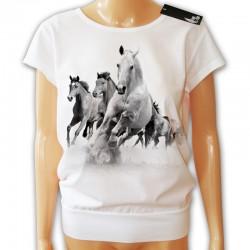 Bluzka luźna damska biała z końmi