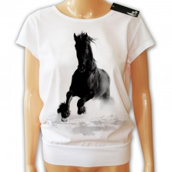 Bluzka luźna damska biała z galopującym koniem