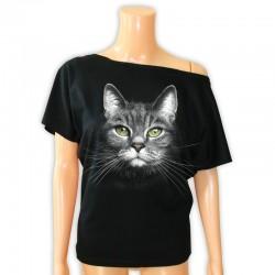 Bluzka damska czarna z głową kota