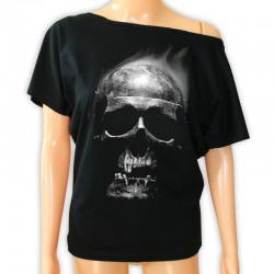 Bluzka damska czarna z czaszką