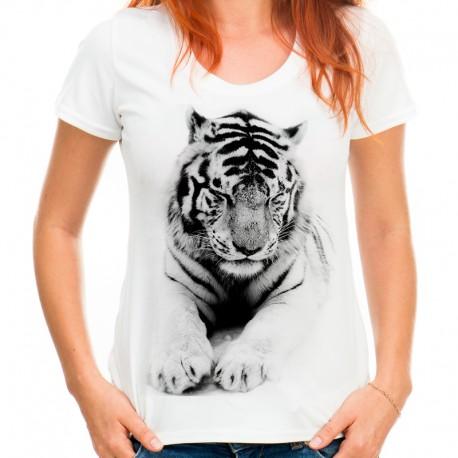 t-shirt damski z białym tygrysem KT005