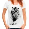 t-shirt damski z białym tygrysem