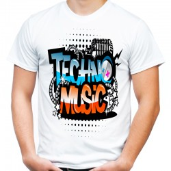 koszulka z napisem techno music