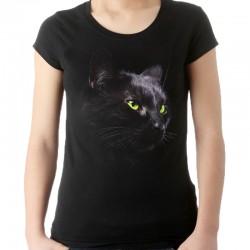 t-shirt czarny z głową kota