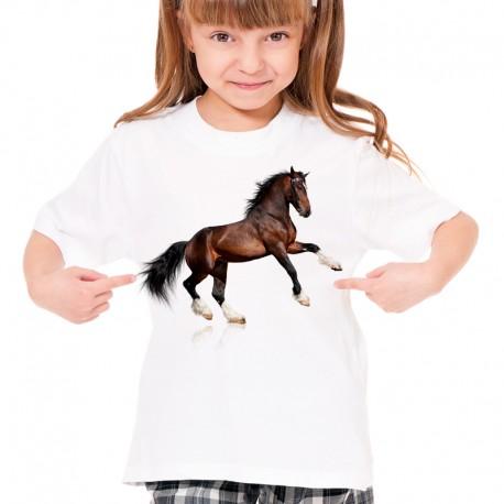 Koszulka dziecięca z brązowym koniem