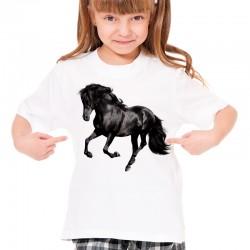 Koszulka dziecięca z czarnym koniem