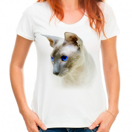 koszulka z kotem damska
