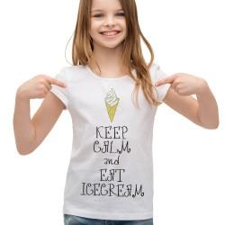 Koszulka dla dziewczynki keep calm and eat ice cream