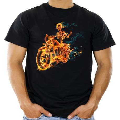 Koszulka męska z płonącym szkieletem