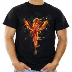 Koszulka męska z płonącym aniołem