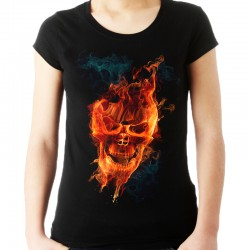 Koszulka damska z płonącą czaszką
