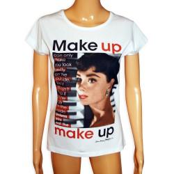 Koszulka z Audrey Hepburn makeup