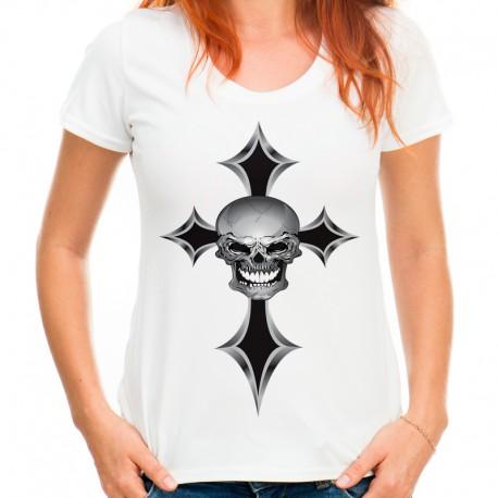 T-shirt z czaszką i krzyżem
