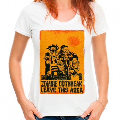 T-shirt zombie outbreak leave this area