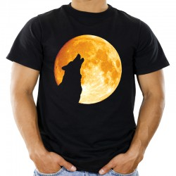 T-shirt z wilkiem i księżyc