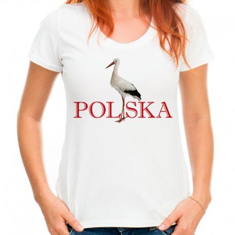 Bluzka z bocianem z napisem POLSKA