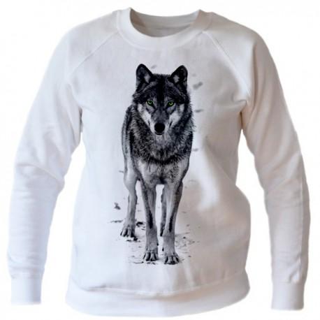 Bluza biała damska z wilkiem