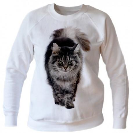 Bluza z kotem biała