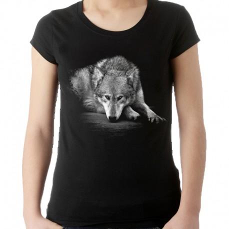 T-shirt damski z wilkiem