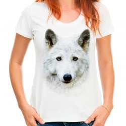 Koszulka z wilkiem białym damska
