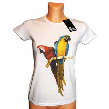 Bluzka damska biała z papugą