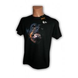 Koszulka męska czarna z psem Rottweiler