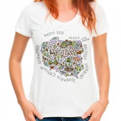 Koszulka damska z mapą Polski