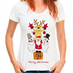 Koszulka z mikołajem reniferem bałwanem