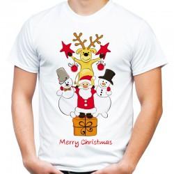 Koszulka z reniferem mikołajem bałwanem