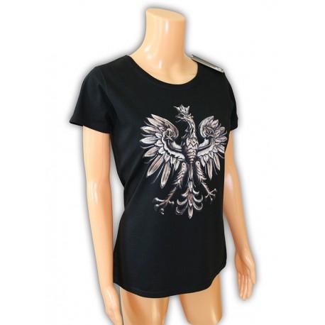 Koszulka damska czarna z Orłem