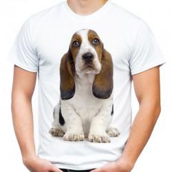 Koszulka męska z psem Bassetem