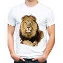 t-shirt biały z lwem KT03M