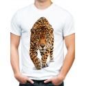 t-shirt męski biały z jaguarem KT01M