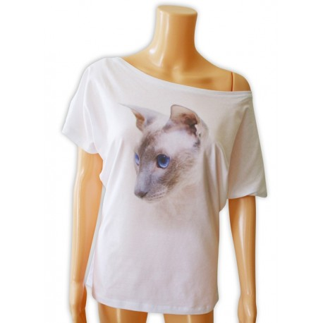 Bluzka damska biała z głową kota