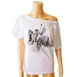 Bluzka damska biała z końmi