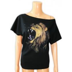 Bluzka damska czarna z głową lwa
