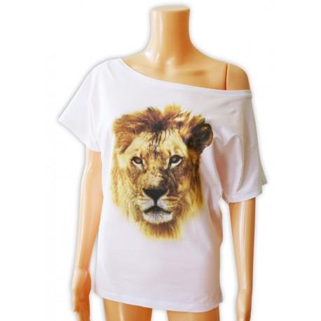 Bluzka damska biała z głową lwa