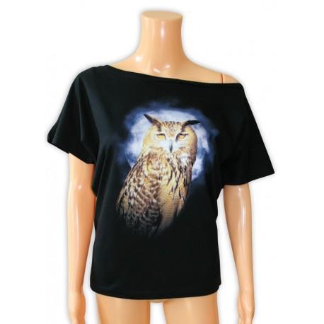 Bluzka damska czarna z sową