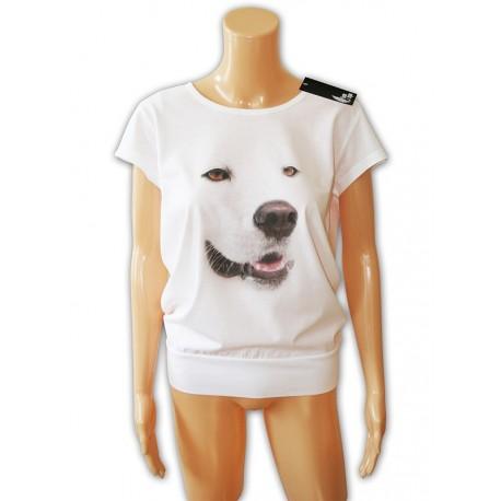 Bluzka luźna damska biała z białym psem