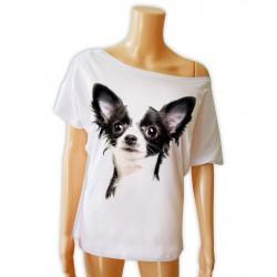 Koszulka biała z głową psa