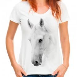 Koszulka damska biała z białym Koniem