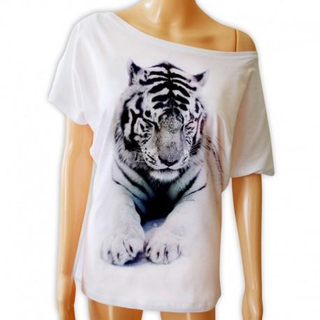 Bluzka damska z białym tygrysem