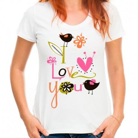 koszulka damska I LOVE YOU ptaki