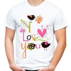 koszulka męska I LOVE YOU ptaki