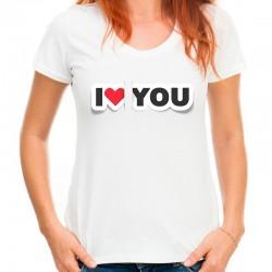 koszulka damska I LOVE YOU 3D